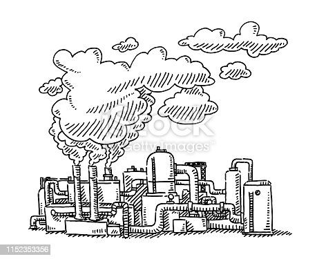 Hand-drawn vector drawing of Refinery Factory with Smoke Stacks, Pollution problem. Black-and-White sketch on a transparent background (.eps-file). Included files are EPS (v10) and Hi-Res JPG.