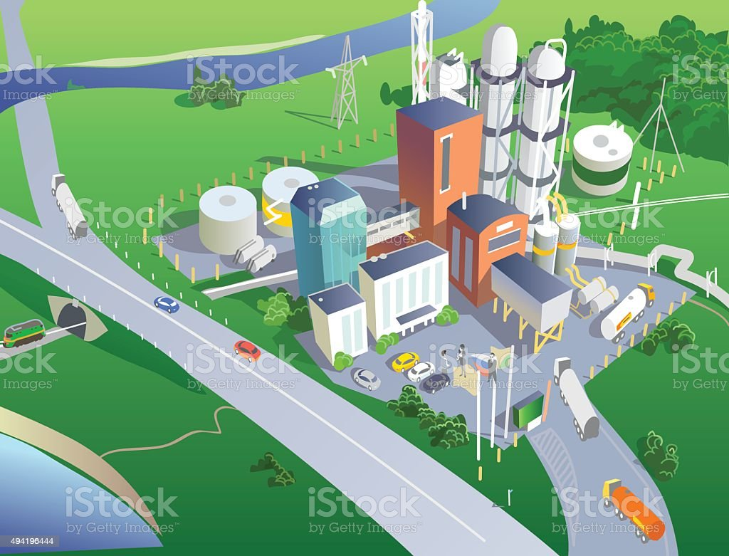 Refinery from the bird's eye view. Vector vector art illustration