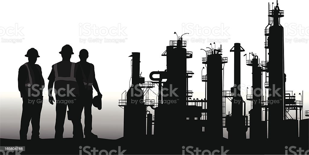 Refinery Vector Silhouette royalty-free stock vector art