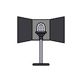 Reflection, audio, microphone icon. Element of color music studio equipment icon. Premium quality graphic design icon. Signs and symbols collection icon
