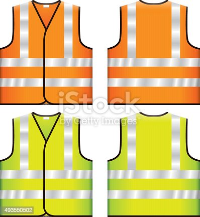Vector illustration of Reflective Safety Vest with two traditional and optional fluorescent colors