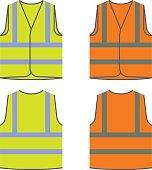 reflective safety vest yellow orange vector