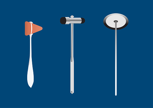 Vector illustration different styles of reflex hammer for neurological examination on blue background.