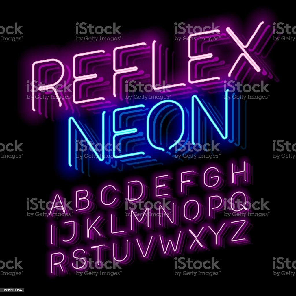 Reflex Neon font vector art illustration