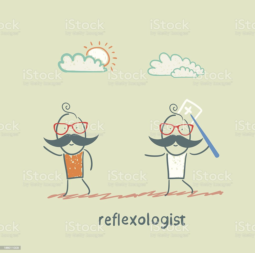 reflexologist with a needle catches patient royalty-free stock vector art