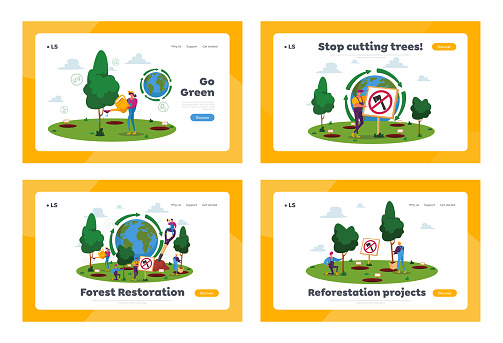 Reforestation Landing Page Template Set. World Environment Day, Characters Planting Trees in Soil Working in Garden