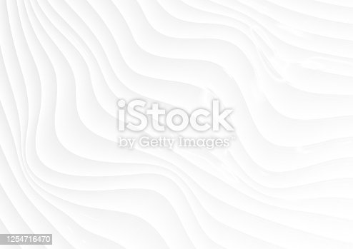 istock Refracted curved waves abstract white background 1254716470