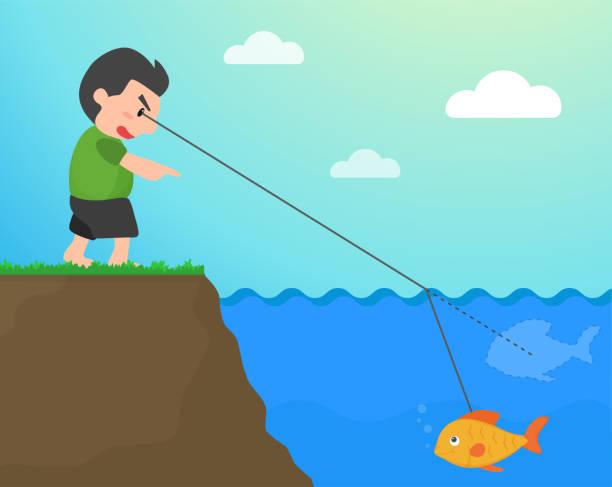 stockillustraties, clipart, cartoons en iconen met breking wanneer het licht reist door het water waardoor de vis kijken ondiep dan waar. - lichtbreking