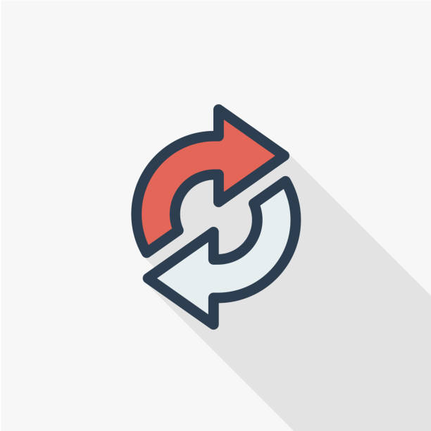 Refresh Arrows, sync, exchange thin line flat color icon. Linear vector symbol. Colorful long shadow design. Refresh Arrows, sync, exchange thin line flat color icon. Linear vector illustration. Pictogram isolated on white background. Colorful long shadow design. transfer image stock illustrations