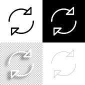 istock Refresh. Icon for design. Blank, white and black backgrounds - Line icon 1294408501