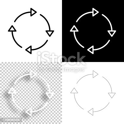 istock Refresh. Icon for design. Blank, white and black backgrounds - Line icon 1298985397