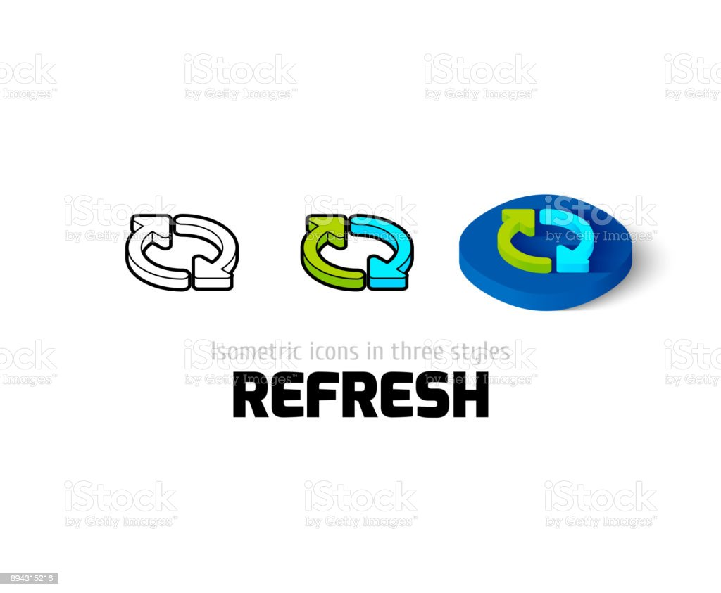 Refresh icon in different style vector art illustration