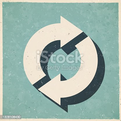 istock Refresh. Icon in retro vintage style - Old textured paper 1328108430