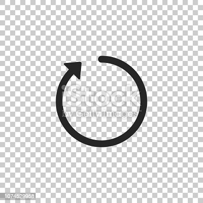 Refresh icon isolated on transparent background. Flat design. Vector Illustration