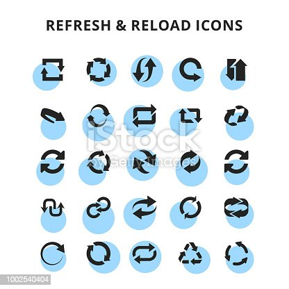 Refresh & Reload Icons. For web design and application interface, also useful for infographics. Vector illustration.