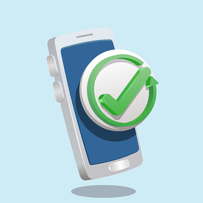 Refresh, Reload,update, Undo,rotation  vector icon. Redo symbol.  arrowed looping and check mark  on smartphone icon. 3d style like vector illustration