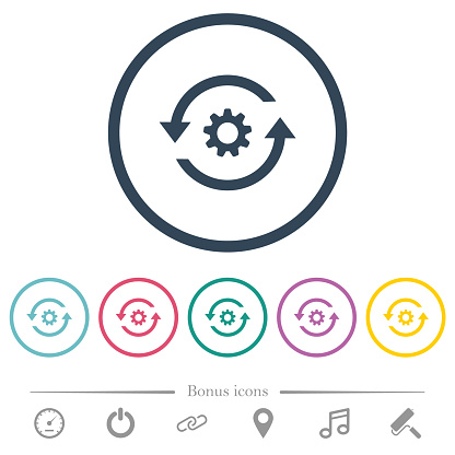 Refresh settings flat color icons in round outlines