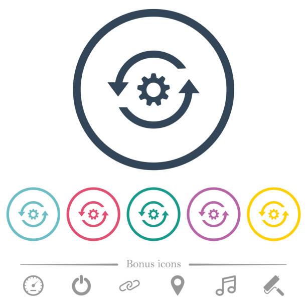 bildbanksillustrationer, clip art samt tecknat material och ikoner med uppdatera inställningar platt färgikoner i runda konturerna - kontinuitet