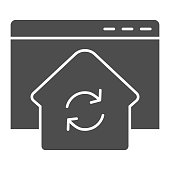 Refresh window solid icon. Browser with home silhouette update and synchronization. Website vector design concept, glyph style pictogram on white background, use for web and app. Eps 10
