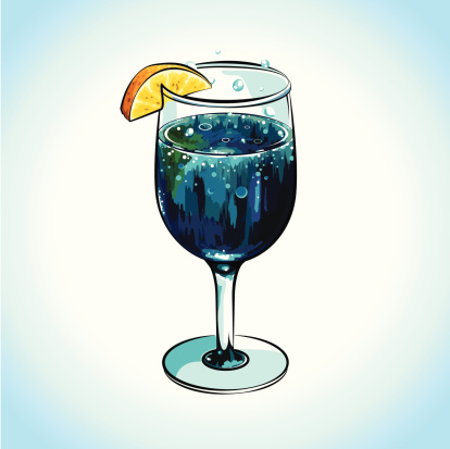 Refreshing Blue Cocktail with Lemon