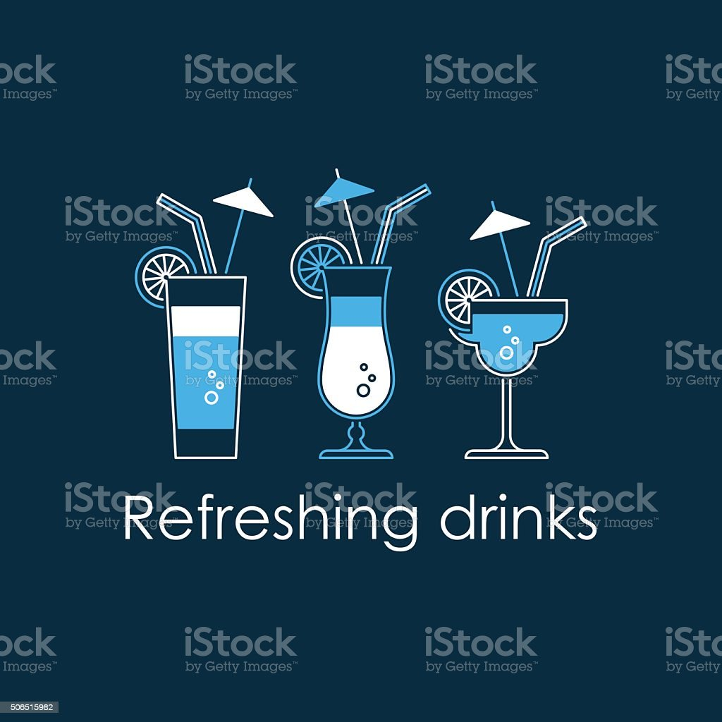 Refreshing drinks vector art illustration