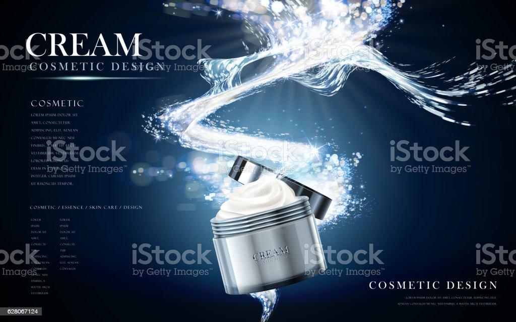 refreshing face cream vector art illustration