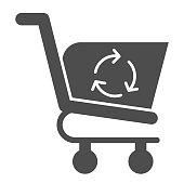 Refreshing shopping cart glyph icon. Market consumer basket with recycle sign. Commerce vector design concept, solid style pictogram on white background, use for web and app. Eps 10