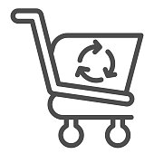 Refreshing shopping cart line icon. Market consumer basket with recycle sign. Commerce vector design concept, outline style pictogram on white background, use for web and app. Eps 10