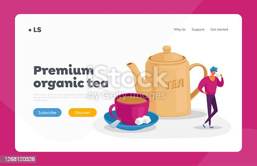istock Refreshment and Hospitality Landing Page Template. Tiny Man Stand at Huge Cup with Saucer, Spoon and Cane Sugar Cubes 1268120326