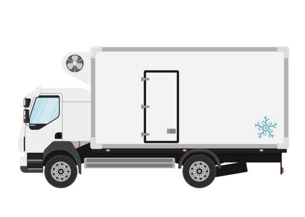 illustrazioni stock, clip art, cartoni animati e icone di tendenza di camion refrigerato isolato su sfondo bianco - car chill