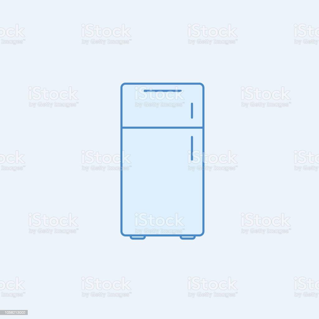 冷蔵庫 2 色の線アイコン単純な青と白の要素の図キッチン セットから