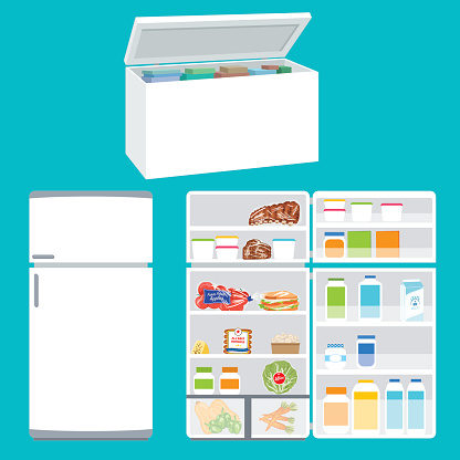 Refrigerator And Freezer Filled With Foods