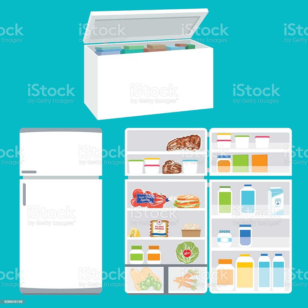 Refrigerator And Freezer Filled With Foods vector art illustration