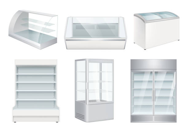 Refrigerator empty. Supermarket retail equipment vector realistic refrigerators for store Refrigerator empty. Supermarket retail equipment vector realistic refrigerators for store. Refrigerator for retail or supermarket, showcase for cafe illustration refrigerator stock illustrations