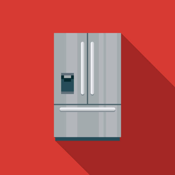 Refrigerator Flat Design Appliance Icon A flat design styled icon with a long side shadow. Color swatches are global so it's easy to edit and change the colors. refrigerator stock illustrations