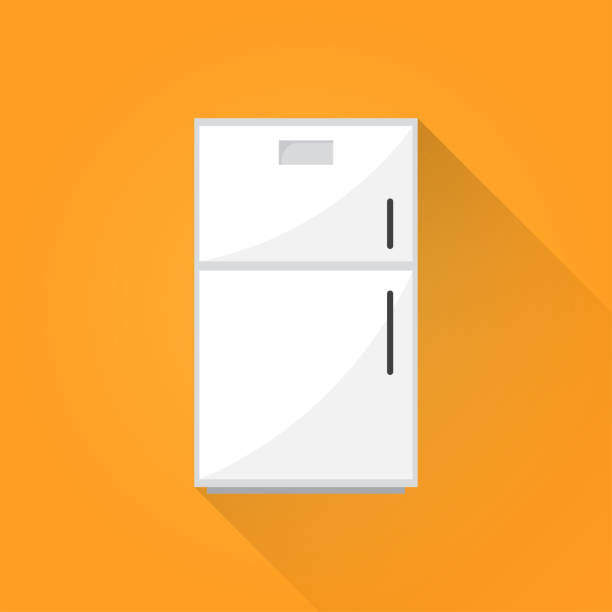 kühlschrank-flach-symbol - kühlschränke stock-grafiken, -clipart, -cartoons und -symbole