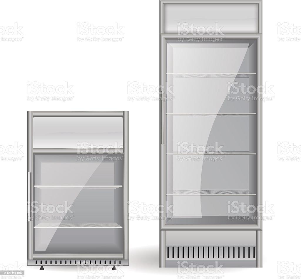 Kuhlschrank In Flaschen Mit Transparentem Glas Tur Stock Vektor Art