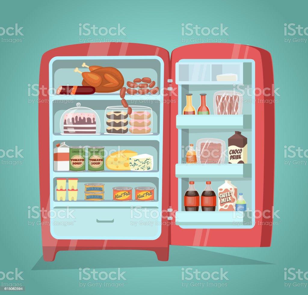 Refrigerator Full of Food Vector in Flat Design - ilustração de arte em vetor