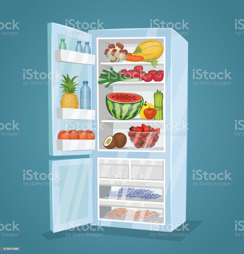 Refrigerator Full of Food Vector in Flat Design vector art illustration