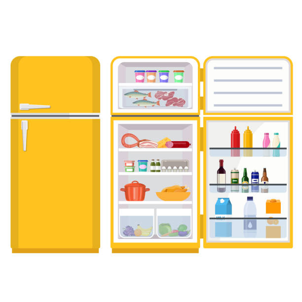 refrigerator full of various food Closed and Opened Refrigerator Full Of Food and Drinks. Healthy food in frozy refrigerator vegetables meat juce steak supermarket products. Vector illustration in flat style. refrigerator stock illustrations