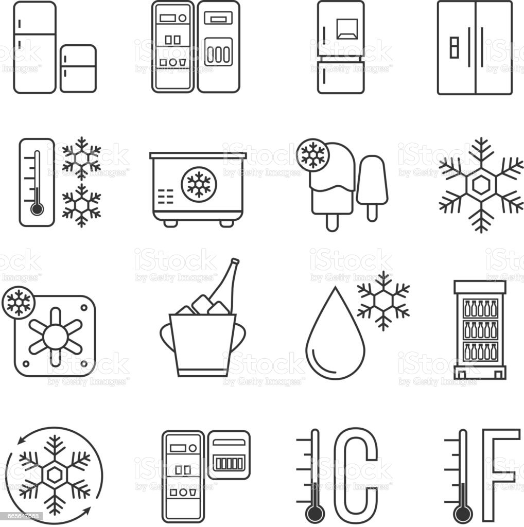 Refrigerator Home Freezer And Industrial Fridge Linear Icons