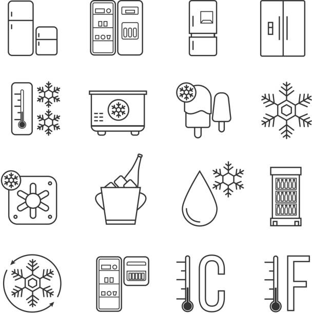 Refrigerator, home freezer and industrial fridge linear icons. Food frozen and cold machine thin line signs Refrigerator, home freezer and industrial fridge linear icons. Food frozen and cold machine thin line signs. Equipment for kitchen, refrigerator functions technology illustration refrigerator stock illustrations