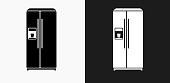 Refrigerator Icon on Black and White Vector Backgrounds