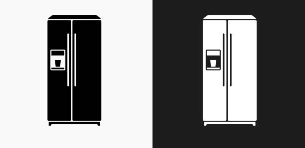 kühlschrank-symbol auf schwarz-weiß-vektor-hintergründe - kühlschränke stock-grafiken, -clipart, -cartoons und -symbole