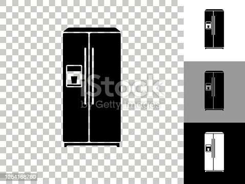 Refrigerator Icon on Checkerboard Transparent Background. This 100% royalty free vector illustration is featuring the icon on a checkerboard pattern transparent background. There are 3 additional color variations on the right..