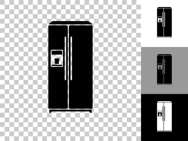 Refrigerator Icon on Checkerboard Transparent Background vector art illustration