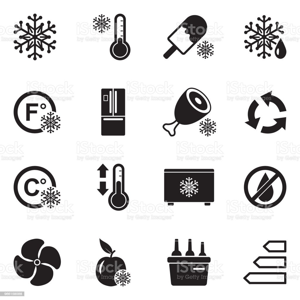Refrigerator Icons. Black Flat Design. Vector Illustration. - Royalty-free Appliance stock vector