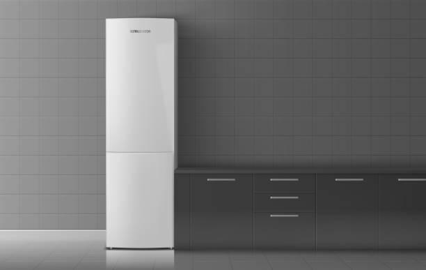 kühlschrank im zimmer. vektor-illustration - winkelküche stock-grafiken, -clipart, -cartoons und -symbole