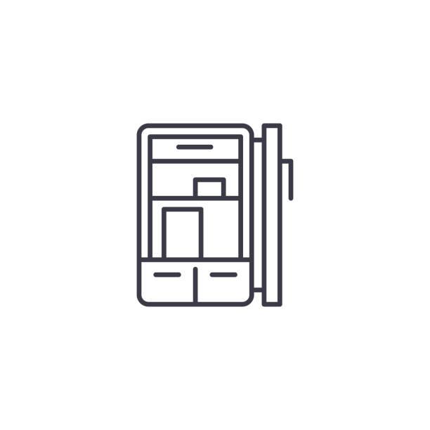 冰箱線性圖示概念。冰箱線向量符號, 符號, 插圖。向量藝術插圖
