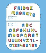 Refrigerator magnets alphabet on doors